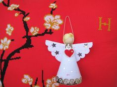 White Angel Ornament Christmas Ornament Felt by HarmonCraftStore