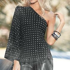Studded One Shoulder Black Top  Item Description: Show off your shoulder in this sexy studded black top. * Rayon/spandex  *  Imported  Color: Black, Size: (contact us for other sizes)   Check out new arrivals at www.Facebook.com/ZoleesFashionBoutique  Payment Policy: Only PayPal is A...