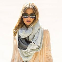 White & Grey Infinity Scarf