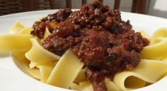 Delicious pasta sauce of simmered browned venison, tomatoes, red wine and warming spices
