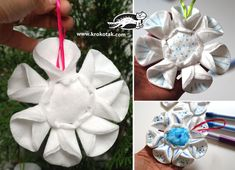 winter decorations from eye make-up remover pads
