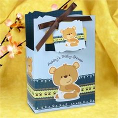 Teddy Bear Baby Shower Favor Box. Include Patchi's Peek-a-Boo Teddy Chocolate favors in the bag for a cute chocolate treat. http://patchi.us/baby-boy-teddyincup-favor.html
