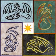 Fire Wing Designs Light And Shadow - Cross Stitch Pattern. Starting from the top left and going clockwise: Stygian was stitched on 28 count Jazz Cashel using We