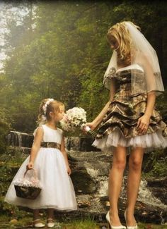 Camo wedding dress! this would be cute with dark brown cowboy boots!