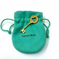 Tiffany & Co.18K YELLOW GOLD DIAMOND CLOVER KEY CHARM PENDANT - Brand New