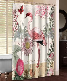 Botanical Flamingo Shower Curtain – Laural Home