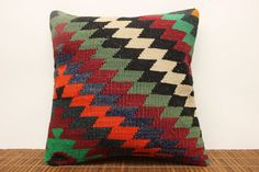 Tribal kilim pillow cover 16 x 16 Art deco Kilim by kilimwarehouse, $42.00