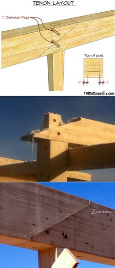 pegged scarf joint http://www.thisiscarpentry.com/2015/03/20/timber-framing-with-glulams/