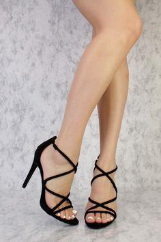 Black Strappy Criss Cross Single Sole High Heels Suede
