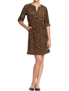 Women's Split-Neck Tab-Sleeve Crepe Dress (Animal Prints). Old Navy. $29.94