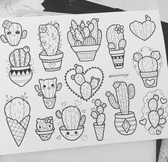 Alex Strangler via instagram cactus succulents kitty illustration clip art tattoo inspiration drawing
