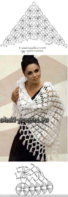 Fiori scialle crochet grosso | Шаль | Постила: