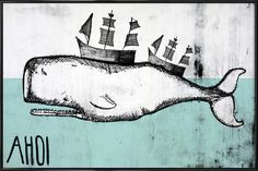 Ahoi Whale en Affiche sous cadre standard par treechild   JUNIQE