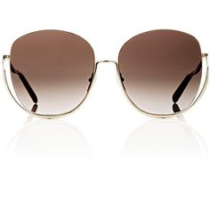 Chloé Women's Milla Sunglasses (£315) ❤ liked on Polyvore featuring accessories, eyewear, sunglasses, gold, butterfly glasses, logo sunglasses, over sized sunglasses, chloe sunglasses and transparent sunglasses