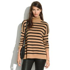 Striped Turtleneck Sweater by Madewell, part of the Classic outfit combination for this outfit idea: http://www.franticbutfabulous.com/2013/12/19/1-outfit-idea-3-styles-turtleneck-jeans-boots/