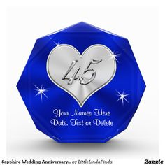 Blue Sapphire Wedding Anniversary 45 Years Married Gifts PERSONALIZED CLICK