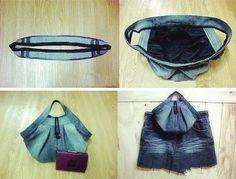 DIY Stylish Handbag from Old Jeans 3