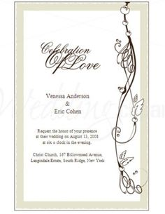 wedding invitation template clipart | Whiper of Nature Invitation Template | Formal Wedding Invitations
