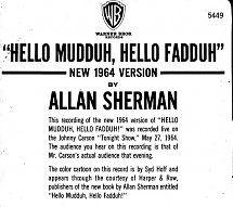 45cat - Allan Sherman - Hello Muddah, Hello Fadduh! (A Letter From Camp) - New 1964 Version / Hello Muddah, Hello Fadduh! (A Letter From Camp) - Original Version - Warner Bros. - USA - 5449