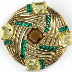 Boucher Citrine Amethyst and Invisibly Set Emeralds Gold Swirl Button Pin