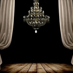Image of grunge dark room interior with wood floor and chandelier. Room Interior, Interior Design, Photo Room, Church Stage Design, Baccarat Crystal, Candle Chandelier, Chandeliers, Custom Wallpaper, Wallpaper Murals