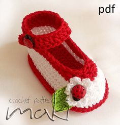 Ladybug -  No sewing - Crochet baby booties pattern. Large pictures. Very easy to make! Full of pictures! Pattern No. 104 $3.00
