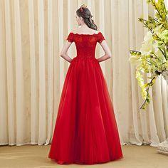 f5fecc14e3 abendkleider 2016 Amazing Red robe de soiree vestidos de fiesta Appliques  Boat Neck robe de soiree