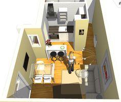 Vista de detalle de salón comedor y cocina abierta.