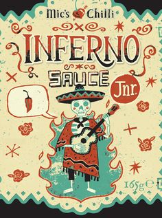 This is some cool looking vector illustration going on right here! Would make a sweet tattoo...or just a nice label for hot sauce (which it is!)