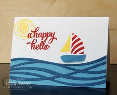 Swirly Bird and Swirly Scribbles happy hello sailboat card featuring Dapper Denim cardstock - new from Stampin Up!