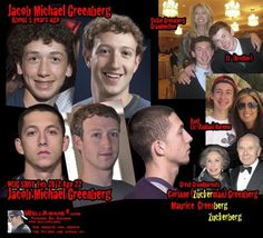 """The character """"Mark Zuckerberg"""" is apparently played by crisis actor Jacob Greenberg, who may be the grandson of Illuminati member David Rockefeller.  Many public figures (business and political """"leaders"""") are simply actors, while people who really are in control remain anonymous.."""