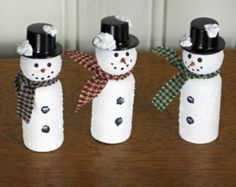 Miniature Wooden Snowmen with Black Top Hat - Table Favor, Stocking Stuffer, Decoration... - Set of 3