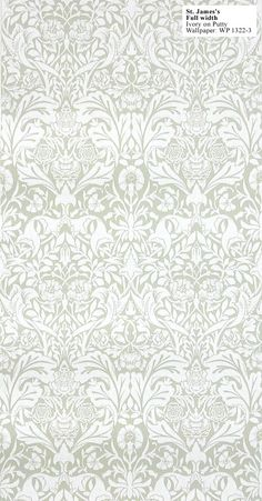 William Morris Reproduction Wallpaper: St James' Damask. Designed by William Morris in 1881.