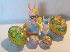 Vintage Easter decorations, West German mache eggs, plastic rabbit candy holders