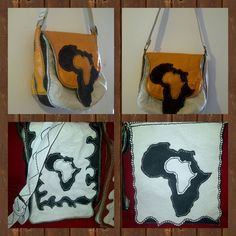 Handstitched Genuine Leather shoulder bags with 2 inside zipped pockets and a magnetic clip flap with or without the map of africa. Leather Shoulder Bag, Shoulder Bags, Africa Map, African Design, Hand Stitching, Reusable Tote Bags, Pockets, Ankle, Unisex