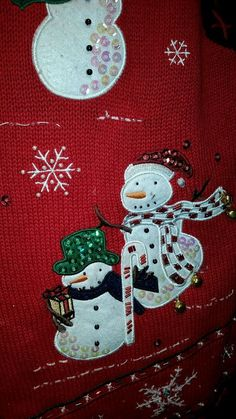 Christmas Sweater Vest Ugly or Pretty Snowmen Bells Red Snowflake Large #BasicEditions