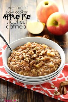 Apple Pie Overnight Steel Cut Oatmeal ~ loaded with steel cut oats and apple cinnamon goodness, this recipe is easy to throw in the slow cooker before bed for an effortless breakfast the next day. And with a special, no-stirring-required trick, you won't have to worry about burnt edges in the morning!   FiveHeartHome.com