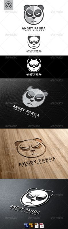 Angry Panda  Logo Design Template Vector #logotype Download it here: http://graphicriver.net/item/angry-panda-logo-template/4786697?s_rank=289?ref=nexion