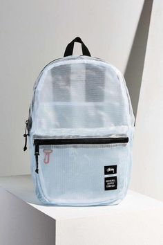 A pale blue mesh backpack that's ~clearly~ adorable. Clear Backpacks, Cute Backpacks, School Backpacks, Awesome Backpacks, Mesh Backpack, Backpack Outfit, Fashion Backpack, Backpack Bags, Tote Bag