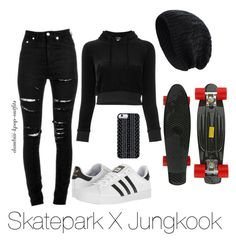 """Skatepark X Jungkook"" by dambiii ❤ liked on Polyvore featuring Vetements, Yves Saint Laurent, adidas, Savannah Hayes, bts and jungkook"