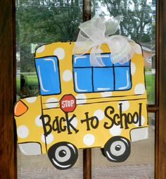 Back to School Bus Door Hanger **made this for our front door w/the boys names. Make one for each of their teachers for XMAS. Need to buy more yellow paint and glue