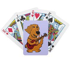 Golden Retriever Playing the Guitar Cartoon Deck Of Cards #goldenretrievers #dogs #pets #music #guitar #cards #playingcards #zazzle #gifts #petspower