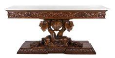 A Continental Walnut Console Table  |  Palm Beach Winter Auction  |  Palm Beach, Florida