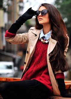 #winter #fashion / red knit + camel coat