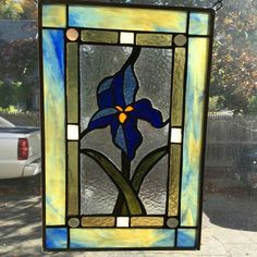 Iris stained glass window hanging