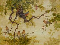 """Cedar Waxwings and Robin"" by Floy Zittin"