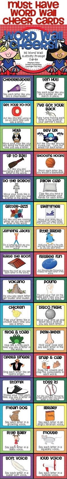 Must have Cheer Cards for your Word Wall...  Use to get your students motivated to learn the sight words! (Ideas for cheer box) $ by ofelia