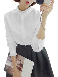Woman Stand Collar Button Closure Long Sleeve Casual Shirt White XS