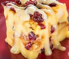 Orange Cranberry Bread Pudding With Vanilla Sauce Recipe served at ...
