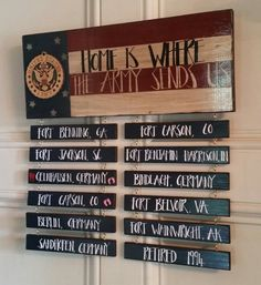 Large Wall Plaque, Home is Where The Army Sends Us, Hand painted, Hand Crafted,  Armed Forces, Americana, Military Duty Stations